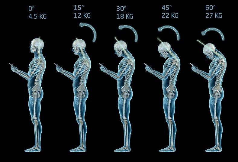 Relação entre inclinação do pescoço e peso sobre a coluna