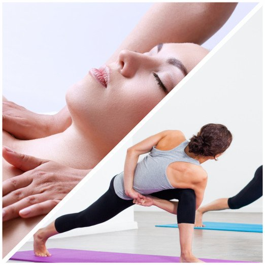 Massagem relaxante e yoga