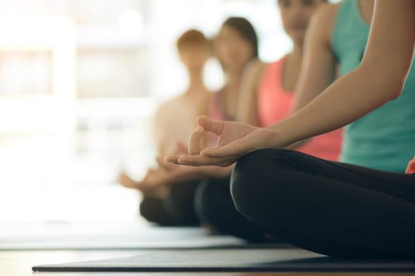 Resgatando os fundamentos do yoga: grupo de alunos praticando meditação.