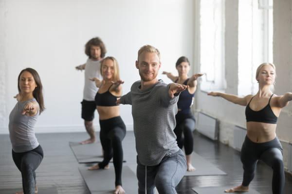 Yoga - Um caminho para um corpo saudável e sem dores: grupo de alunos praticando yoga.